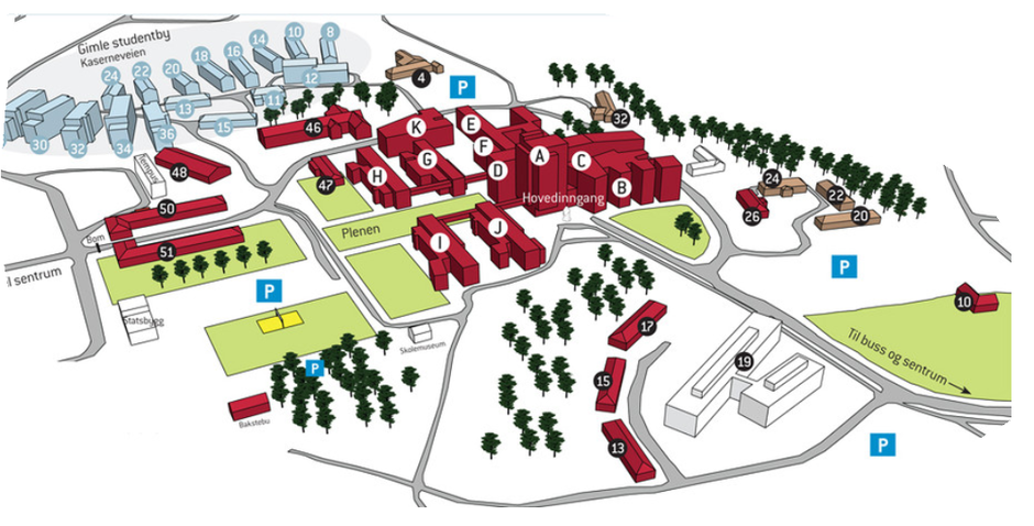 uia kristiansand kart Campus kart   Universitetet i Agder