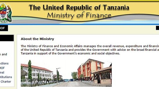 Ministry of Finance Tanzania - hjemmeside. (Faksimile)