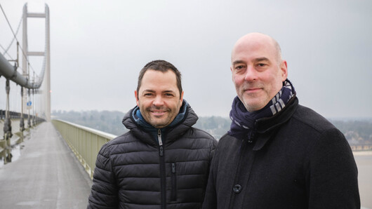 Arve Henriksen og Jan Bang på Humber Bridge.