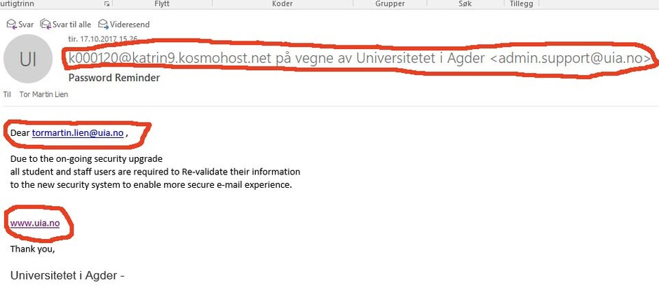 Phishing Viruses Spam And Crypto Locker Flood Uia Universitetet