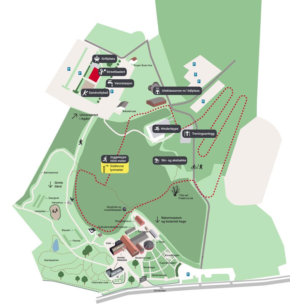 UiA-parken: Kart over hele aktivetetparken på UiA Campus Kristiansand. (Illustrasjon: Thomas Fiskå)