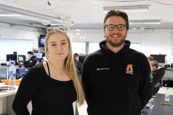 Picture of Kristine Knaben is responsible for the unveiling on 25 April and Andreas Wæhle is project leader of Align Racing UiA.