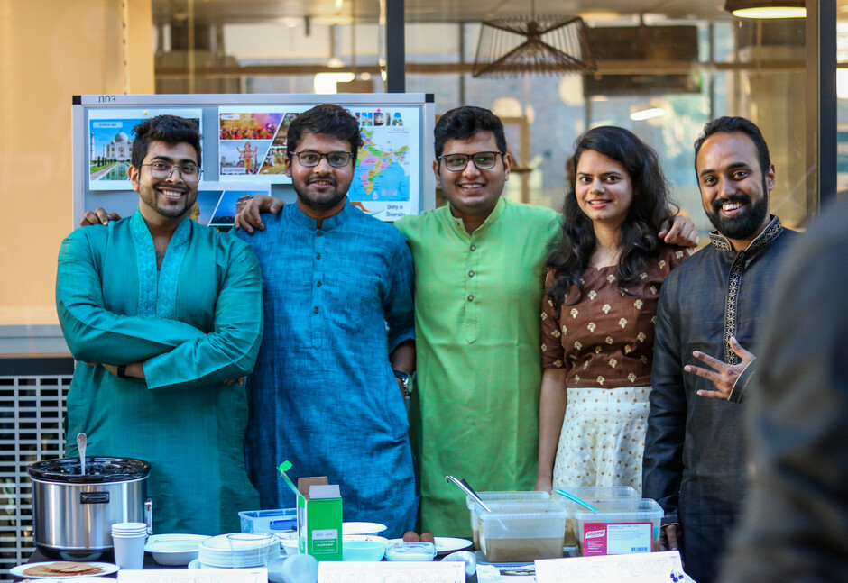 Photo of exchange students, from left to right: Tanmay Gupta, Navin Chaurasia, Vijendra Sonawane, Shaily Sharma and Joseph Chacko.