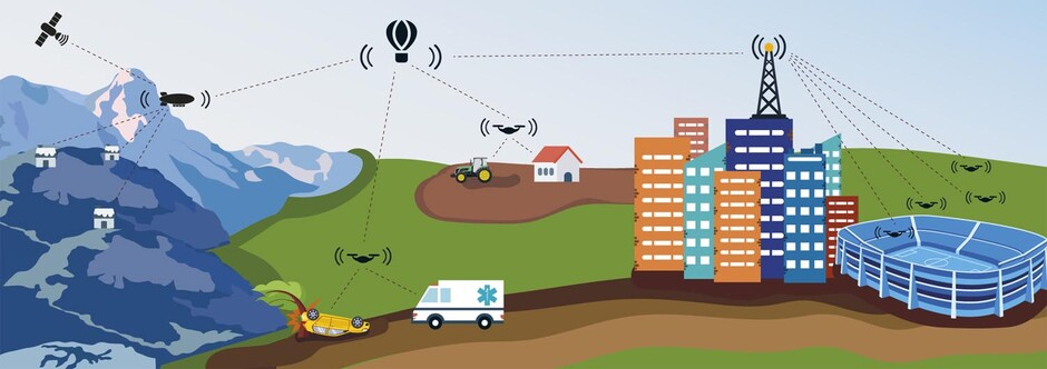 FLYING BASE STATIONS: The illustration shows how autonomous airborne networks can improve and secure communication in areas where there is no coverage, where coverage is poor, or where there is an extraordinary amount of traffic. (Illustration: UiA / Saara Maria Ojanen)