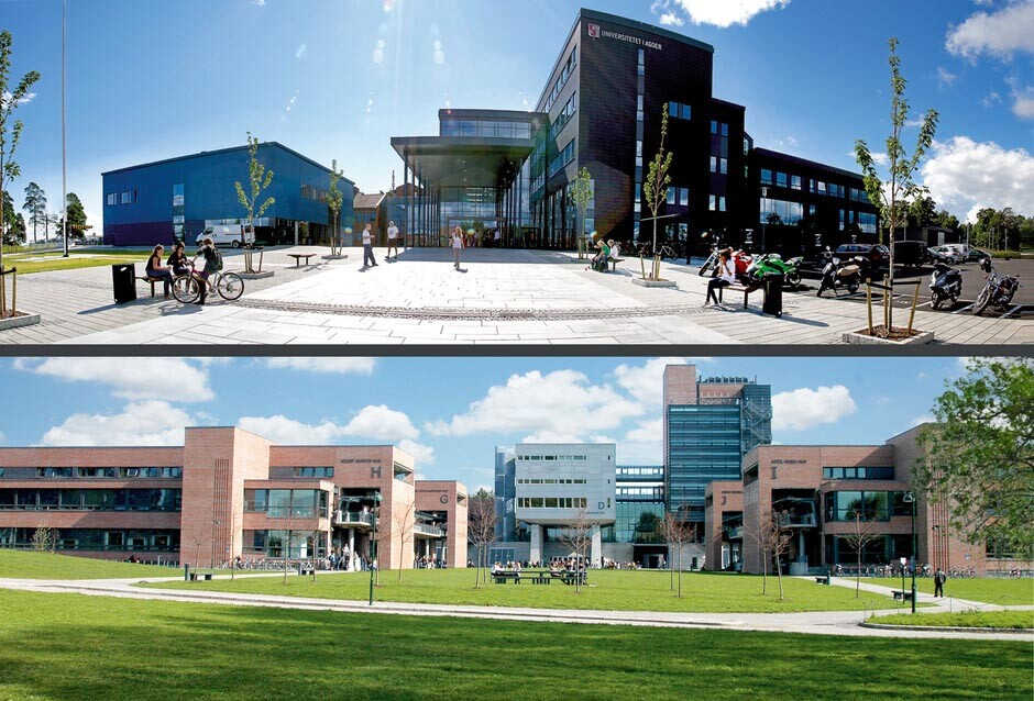 UiA - Campus Grimstad (top) and Campus Kristiansand.