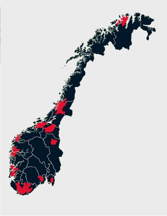 Illustrasjon av egnede områder for vindmøller i Norge