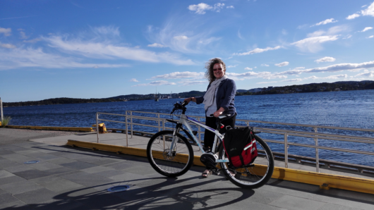 Photo: Private. When Linda first came to Norway with her lovely new el bike.