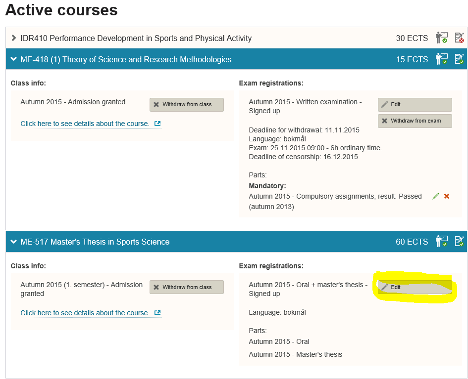 How to register title in Studentweb, Active Courses