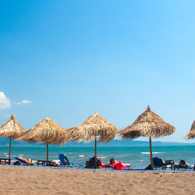 The beach in Skala Kalloni